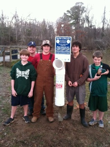 Ryan Seawright (second from right) was joined by fellow Scouts to work on his project, including (from left) Ian Clarke, Will Davis, Ross Edwards and Kendall Clark. The Scouts were from Troop 18 of First Presbyterian Church in Jackson and Troop 3 of Lakeland Presbyterian Church in Flowood.